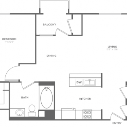 A5 | 1 bed 1 bath | from 809 square feet