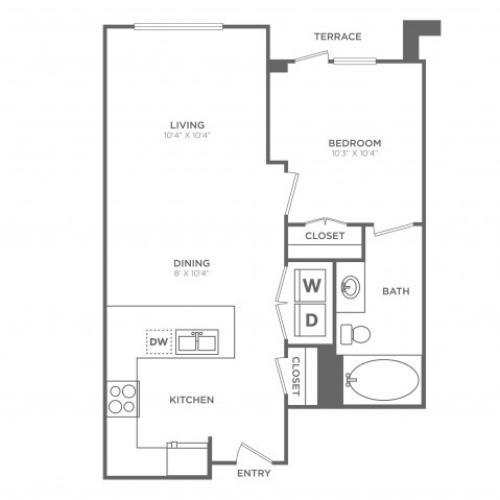 Lustrous | 1 bed 1 bath | from 623 square feet