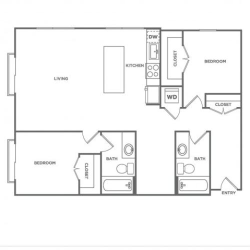 F2.1 | 2 bed 2 bath | from 1207 square feet