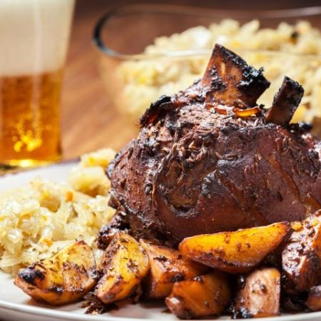 Steak Meal with Potatoes - Beer and Popcorn in the background
