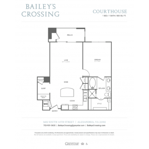 Courthouse | 1 bed 1 bath | from 883 square feet
