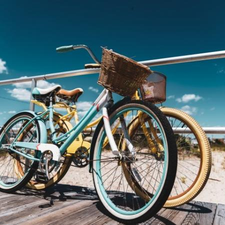 Bikes On Wooden Platform By Beach
