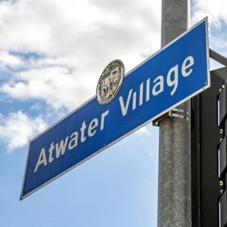 Atwater Sign in Blue with Blue Skies in Background