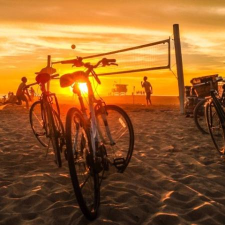 Sunset Beach with Bikes + Volleyball Net