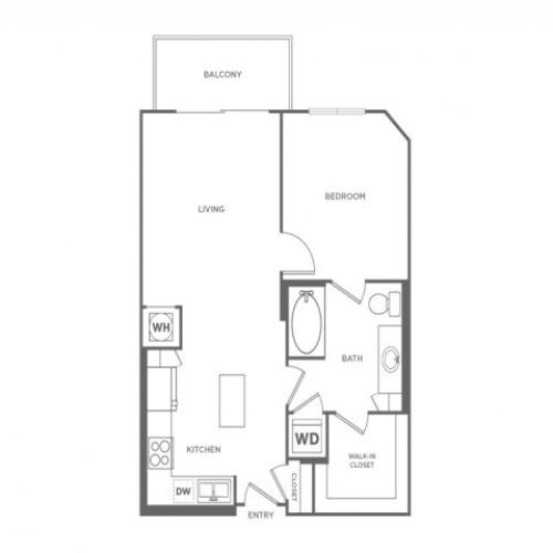 A1E | 1 bed 1 bath | from 696 square feet