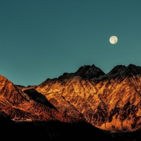 Mountain and Moon light