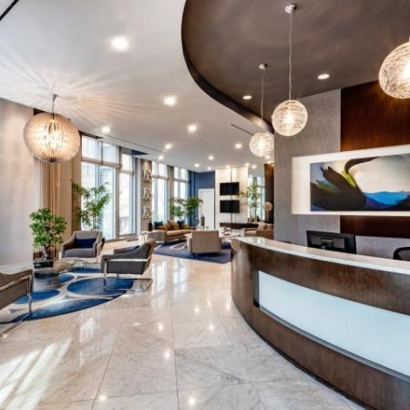 Lofts Lobby, seating area with concierge desk