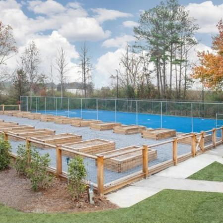 Community Gardens and Paved Sport Court
