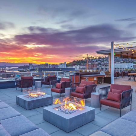 Rooftop seating and firepits
