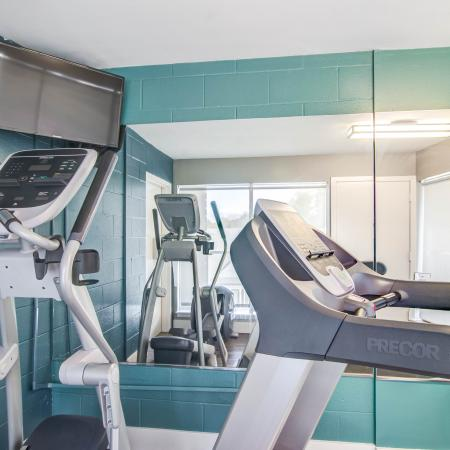 Fitness center stair stepper and treadmill