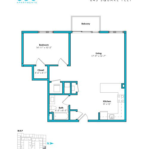O-1B* | 1 bed 1 bath | from 845 square feet