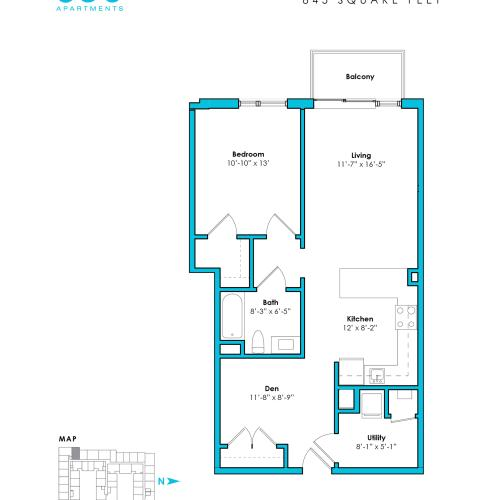 o-1c | 1 bed 1 bath | from 845 square feet