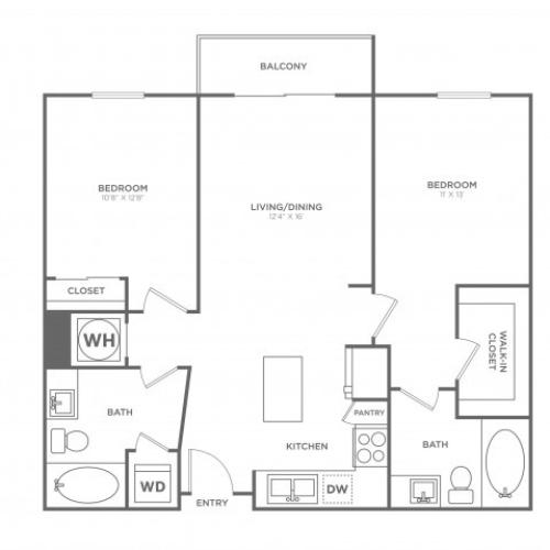 B1 | 2 bed 2 bath | from 1049 square feet