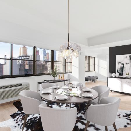 Dining room with beautiful view of city through large windows