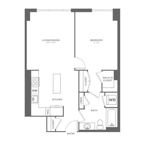 A1 | 1 bed 1 bath | from 750 square feet
