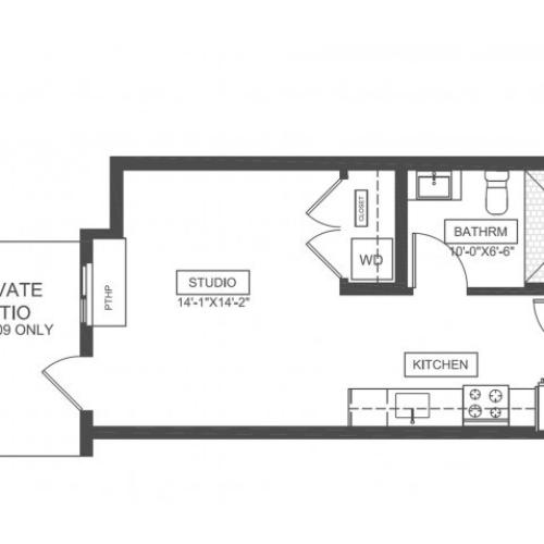S1 | Studio1 bath | from 376 square feet