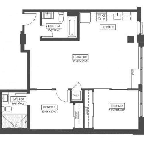 C0O | 2 bed 2 bath | 886 sq ft