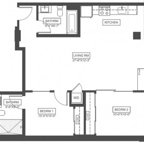 C0G | 2 bed 2 bath | 885 sq ft