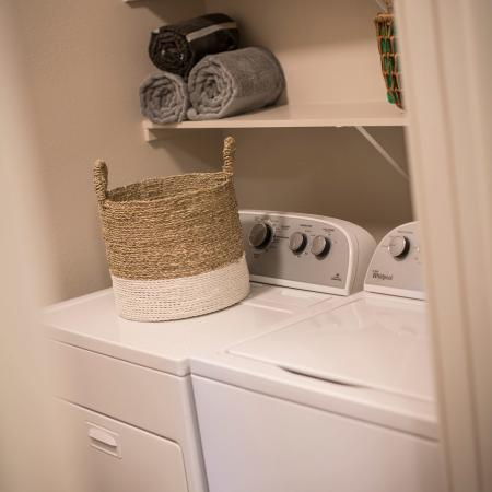 Laundry room for full size washer and dryer