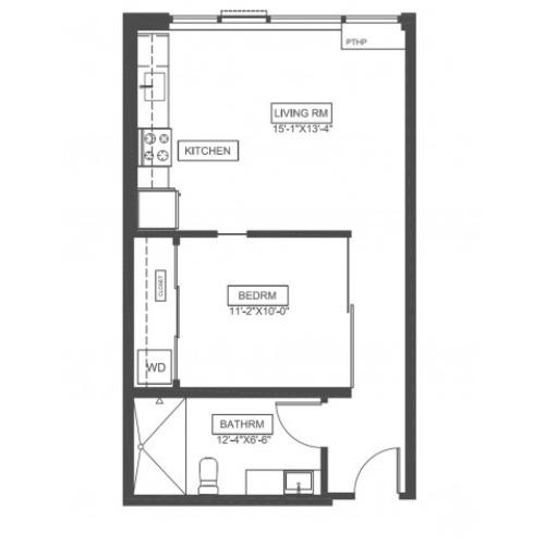 A1H | 1 bed 1 bath | 560 sq ft