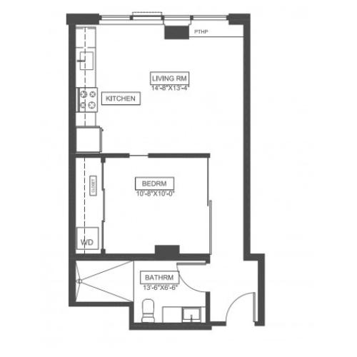 A1E | 1 bed 1 bath | 538 sq ft