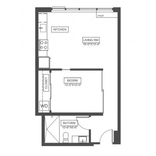 A4 | 1 bed 1 bath | from 571 square feet
