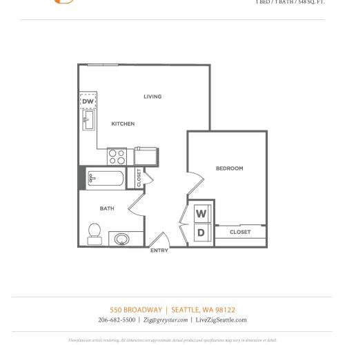 B6.1 | 1 bed 1 bath | from 548 square feet