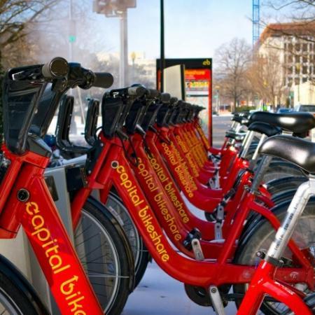 capital bikeshare bikes on rack