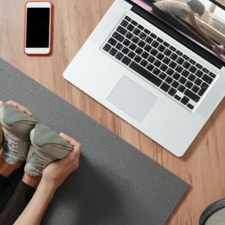 woman doing a virtual workout