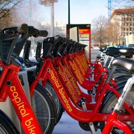 capital bikeshare bikes on rack