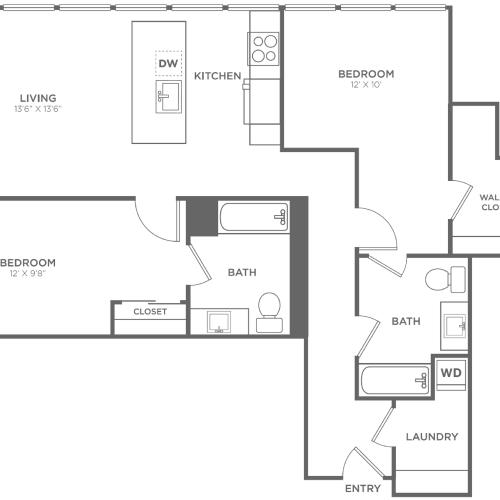2AA | 2 bed 2 bath | from 1130 square feet