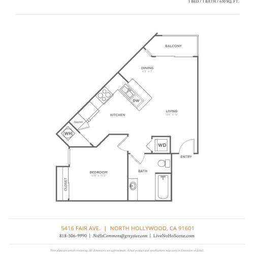 A1   1 bed 1 bath   from 630 square feet
