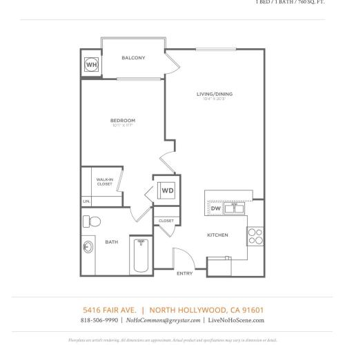 A2 | 1 bed 1 bath | from 760 square feet