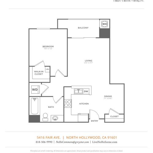 A2.1   1 bed 1 bath   from 720 square feet