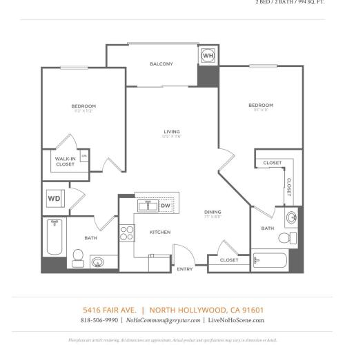 B2 | 2 bed 2 bath | from 994 square feet