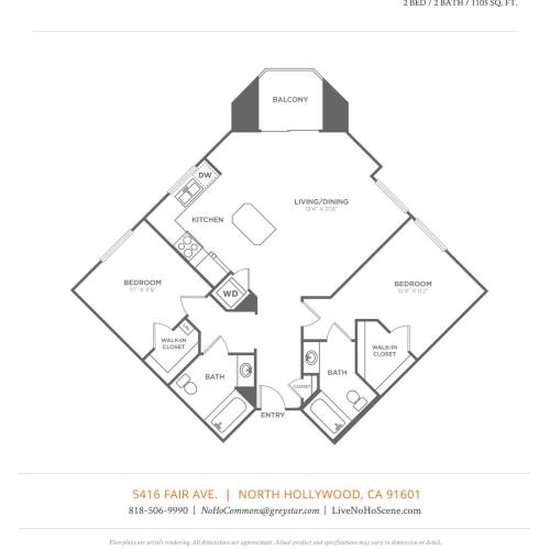 B3   2 bed 2 bath   from 1105 square feet