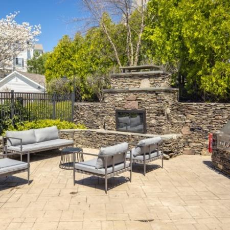 Outdoor seating and fireplace