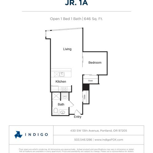 JR1 A | 1 bed 1 bath | from 646 square feet