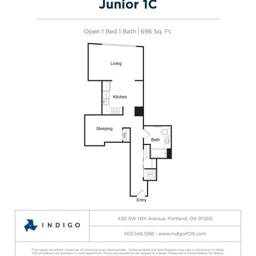 JR1 C | 1 bed 1 bath | from 646 square feet