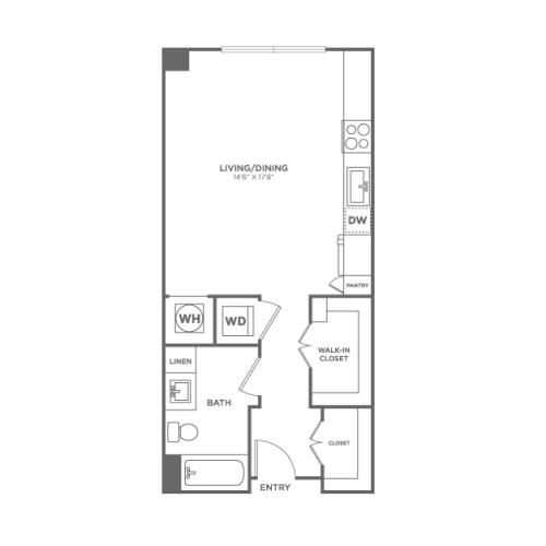 A0 | Studio1 bath | from 475 square feet