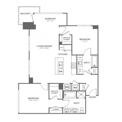 B3 | 2 bed 2 bath | from 1172 square feet