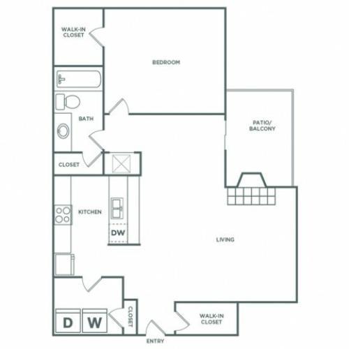 871 sq ft 1 bed 1 bath B Elite