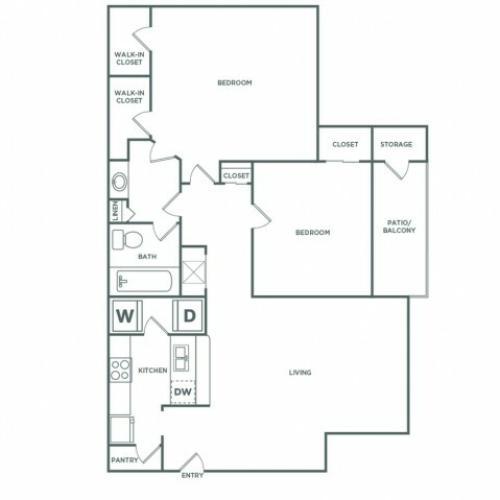 988 sq ft 2 bed 1 bath Premium