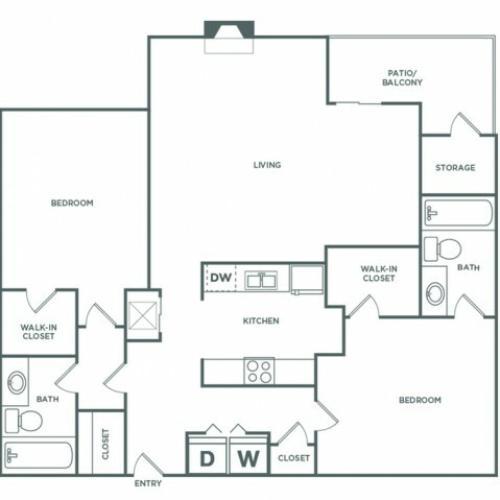 1241 sq ft 2 bed 2 bath Classic