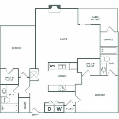 1241 sq ft 2 bed 2 bath Premium