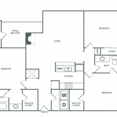 1389 sq ft 3 bed 2 bath Classic