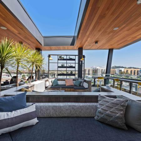 Roof deck with city views