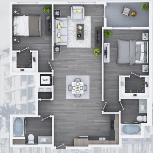 2 bedroom C12-B 1191 Sq ft