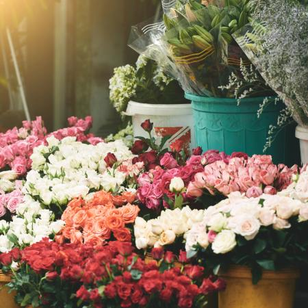 Flower shop full of red, pink and white flowers