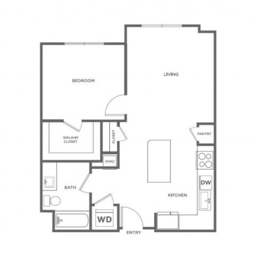 1 bed 1 bath | 754 sq ft.